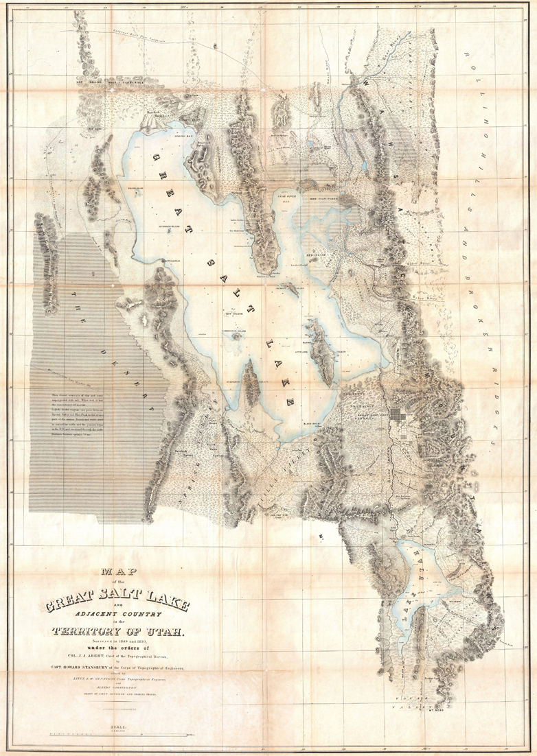 Stansbury's 1852 map of the Great Salt Lake